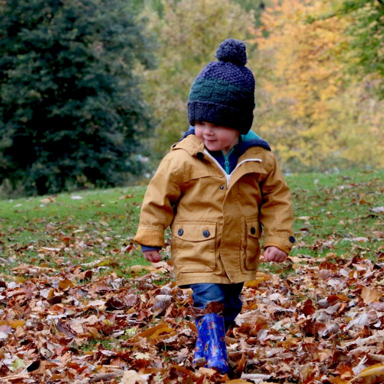 Young child in autumn leaves