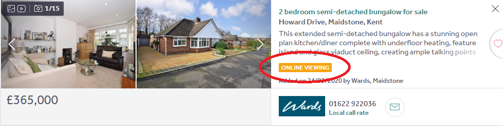 Rightmove property listing with online viewing option