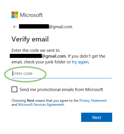 Verify email code screenshot