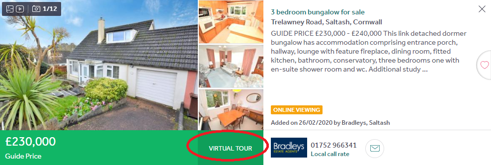 Rightmove property listing with virtual tour option